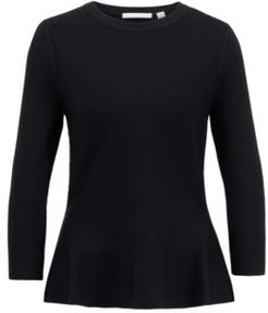 HUGO BOSS - Slim Fit Sweater With Peplum Hem And Crew Neckline - Black