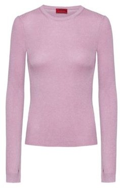 BOSS - Slim Fit Rib Knit Sweater With Thumbholes - Light Purple