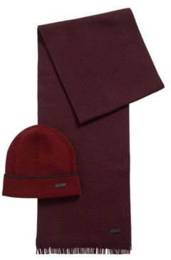 HUGO BOSS - Hat And Scarf Set In Cashmere Touch Wool - Dark Red