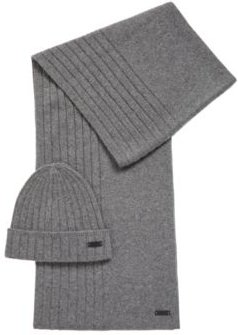 HUGO BOSS - Hat And Scarf Set In Pure Cashmere - Grey