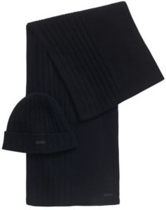 HUGO BOSS - Hat And Scarf Set In Pure Cashmere - Dark Blue