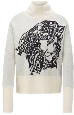 HUGO BOSS - Relaxed Fit Sweater In Cashmere With Jacquard Pattern - Patterned
