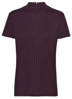 BOSS - Slim Fit T Shirt In Metalized Yarn With Mock Neck - Red