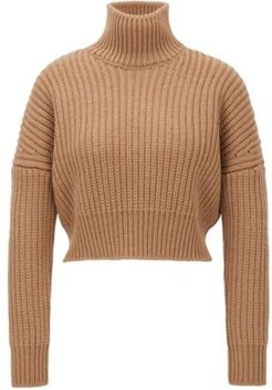 HUGO BOSS - Cropped Structured Knit Sweater In Wool With High Neckline - Light Brown