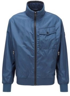 HUGO BOSS - Water Repellent Jacket In High Shine Fabric - Light Blue