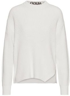 BOSS - Relaxed Fit Sweater In Cotton With Back Neck Intarsia - Natural