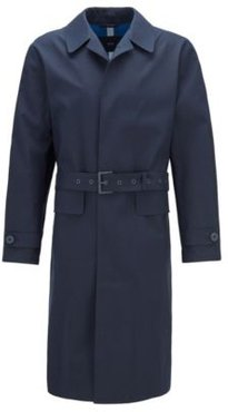 HUGO BOSS - Relaxed Fit Coat With Concealed Closure In Cotton - Dark Blue