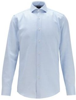 HUGO BOSS - Slim Fit Shirt In Cotton With Coolest Comfort Finishing - Blue