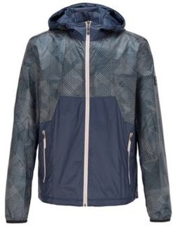 HUGO BOSS - Water Repellent Hooded Jacket With Geometric Print Ripstop Fabric - Dark Blue