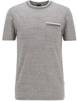 HUGO BOSS - Slim Fit T Shirt In Cotton With Heathered Stripes - Light Grey