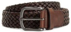 HUGO BOSS - Woven Leather Belt With Logo Stamped Keeper - Dark Brown
