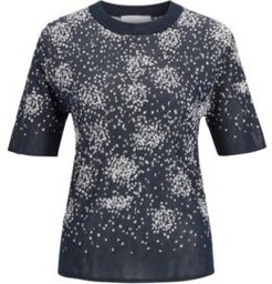 HUGO BOSS - Short Sleeved Sweater With Jacquard Knitted Design - Patterned