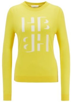 HUGO BOSS - Slim Fit Sweater With Monogram Intarsia In Merino Wool - Yellow