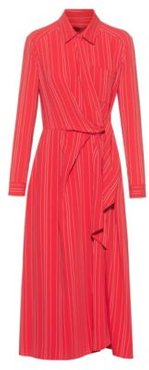 BOSS - Striped Shirt Dress With Wrap Effect Front - Red