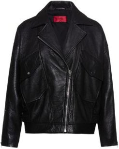 BOSS - Relaxed Fit Biker Jacket In Grained Nappa Leather - Black