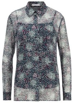 HUGO BOSS - Printed Silk Blouse With Crinkle Texture - Patterned