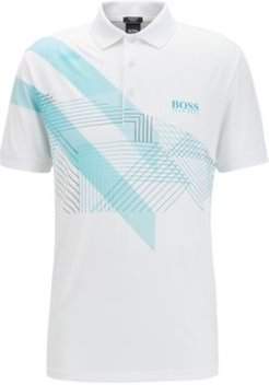 HUGO BOSS - Stretch Jersey Polo Shirt With Mixed Print Graphic - White