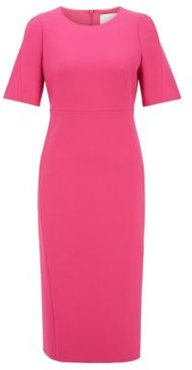 HUGO BOSS - Midi Length Dress In Double Faced Portuguese Stretch Fabric - Pink