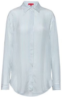 BOSS - Oversized Fit Striped Blouse With Dropped Shoulders - White