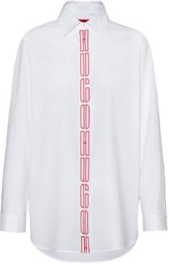 BOSS - Oversized Fit Blouse In Stretch Cotton With Logo Placket - White