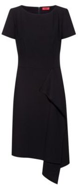BOSS - Short Sleeved Dress With Draped Detail - Black