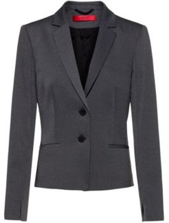 BOSS - Slim Fit Jacket With Woven Micro Pattern - Black