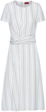 BOSS - Striped Dress With Waist Detail - White