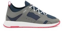 HUGO BOSS - Hiking Inspired Sneakers With Leather Facings - Light Grey
