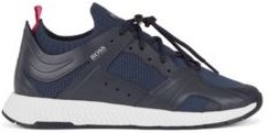 HUGO BOSS - Hiking Inspired Sneakers With Leather Facings - Dark Blue