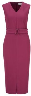 HUGO BOSS - Sleeveless Shift Dress In Stretch Twill With Belted Waist - Purple