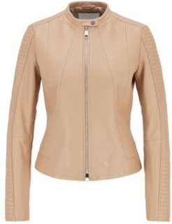 HUGO BOSS - Regular Fit Nappa Leather Jacket With Stand Collar - Beige