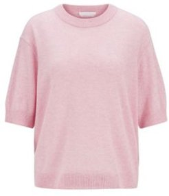 HUGO BOSS - Relaxed Fit Sweater In Pure Cashmere With Cropped Sleeves - Light Purple