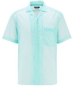 HUGO BOSS - Relaxed Fit Checked Shirt With Camp Collar - Light Green