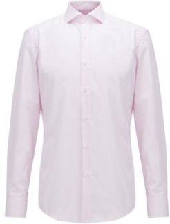 HUGO BOSS - Slim Fit Shirt In Striped Easy Iron Cotton - light pink