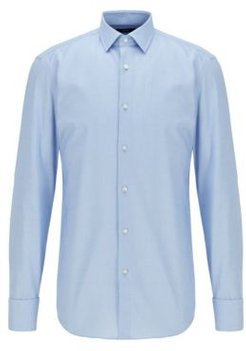 HUGO BOSS - Slim Fit Shirt In Structured Cotton With Double Cuffs - Light Blue