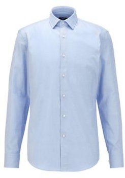 HUGO BOSS - Slim Fit Shirt In Structured Cotton With Contrast Details - Light Blue