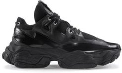 BOSS - Chunky Sneakers In Brush Off Leather And Mesh - Black