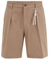 HUGO BOSS - Relaxed Fit Shorts In Stretch Cotton With Cord Trim - Beige