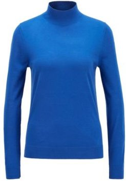 HUGO BOSS - Mock Neck Sweater In Virgin Wool - Light Blue