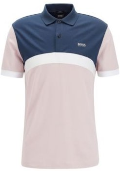 HUGO BOSS - Slim Fit Polo Shirt With Curved Color Blocking - light pink