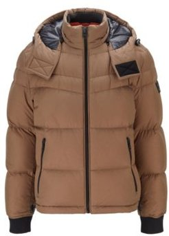 HUGO BOSS - Water Repellent Down Jacket With Removable Hood - Khaki