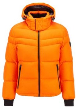 HUGO BOSS - Water Repellent Down Jacket With Removable Hood - Orange