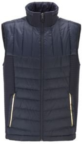 HUGO BOSS - Water Repellent Down Gilet With Stand Collar - Dark Blue