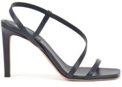 HUGO BOSS - High Heeled Sandals In Nappa Leather With Asymmetric Strap - Dark Blue