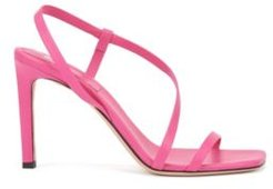 HUGO BOSS - High Heeled Sandals In Nappa Leather With Asymmetric Strap - Pink