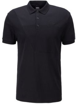 HUGO BOSS - Cotton Polo Shirt With Ottoman Structured Panels - Black