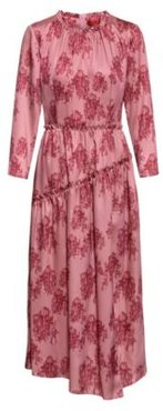 BOSS - Midi Length Frilled Dress With Collection Themed Toile Print - Patterned