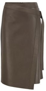 HUGO BOSS - Nappa Leather Wrap Skirt With D Ring Detail - Light Green