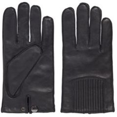 HUGO BOSS - Leather Gloves With Press Stud And Logo Detail - Black