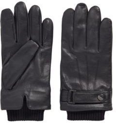 HUGO BOSS - Lamb Leather Gloves With Wool Blend Trims - Black
